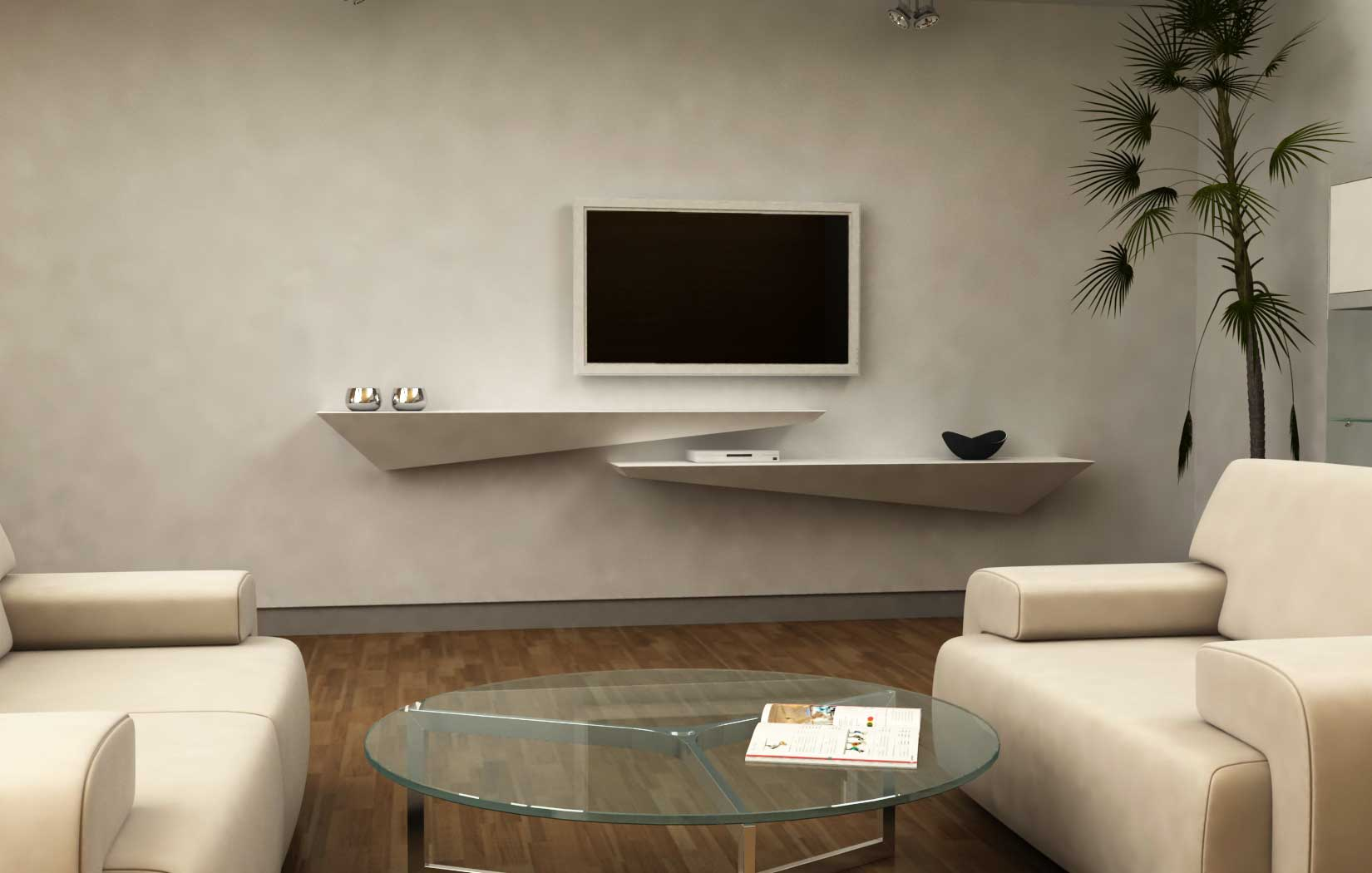 Mensola consolle porta TV – Legno – Corian – Arco Arredo lavorazione ...